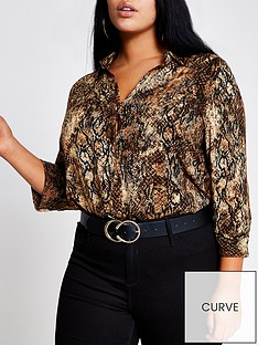 ri-plus-animal-print-blouse-brown
