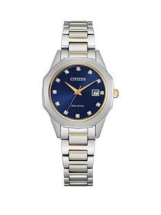 citizen-citizen-ladies-eco-drive-bi-colour-stainless-steel-diamond-set-navy-dial-watch