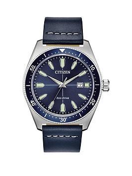citizen-citizen-eco-drive-blue-leather-strap-blue-dial-watch