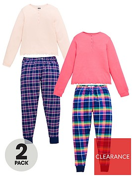 v-by-very-girls-2-pack-woven-check-pyjamas-set-multi