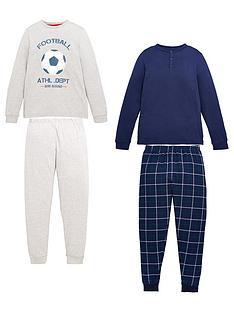 v-by-very-boys-2-pack-football-woven-check-pj-set-multi