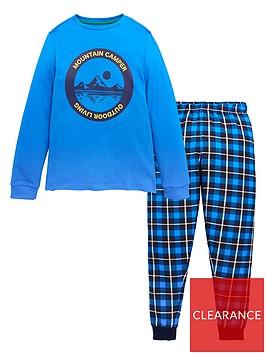 v-by-very-boys-mountian-camper-woven-check-pyjamanbspset-blue