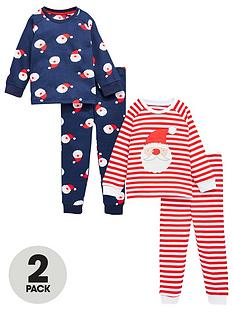 v-by-very-boys-2-pack-father-christmas-snuggle-fit-pj-set-rednavy
