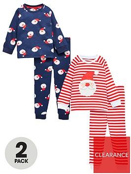 v-by-very-boys-2-pack-father-christmas-snuggle-fit-pj-set-rednavy