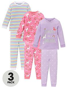 v-by-very-girls-3-pack-unicorn-and-stripenbspsnuggle-fit-pyjama-set-multi