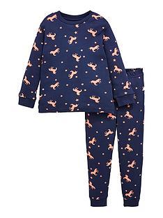 v-by-very-girls-printed-unicorn-snuggle-fit-pyjama-set-navy