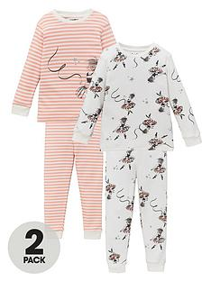 v-by-very-girls-2-pack-ballerina-snuggle-fit-pyjama-set-pinkcream