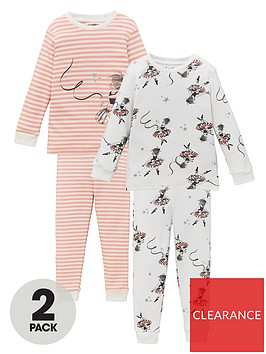 v-by-very-girls-2-pack-ballerina-snuggle-fit-pyjama-set-pinkcream