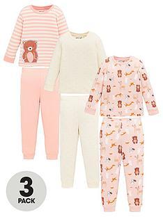 v-by-very-girls-3-pack-teddy-and-stripe-snuggle-fit-pyjama-set-multi