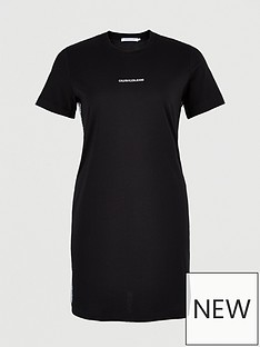 calvin-klein-jeans-plus-mesh-tape-t-shirt-dress-black