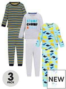 v-by-very-boys-3-pack-dinosaur-and-stripe-snuggle-fit-pyjama-set-multi