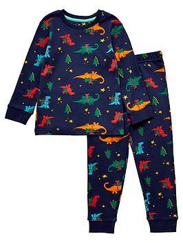 v-by-very-boys-christmas-dinosaur-snuggle-fit-siblingnbsppj-set-navy