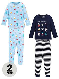 v-by-very-girls-2-pack-christmas-snuggle-fit-pyjama-set-multi