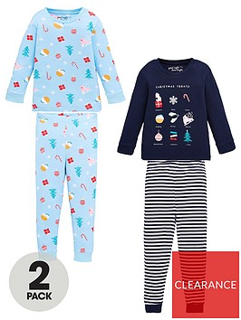 v-by-very-girls-2-pack-christmas-snuggle-fit-pyjama-set-multi