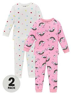 v-by-very-girls-2-pack-rainbow-andnbspstar-snuggle-fit-pyjama-set-multi
