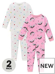 v-by-very-girls-2-pack-rainbow-andnbspstar-snuggle-fit-pyjama-set-multi