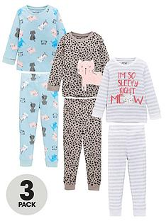 v-by-very-girls-3-pack-cat-snuggle-fit-pj-set-multi