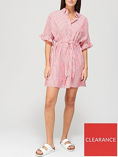 tommy-jeans-frill-sleeve-stripenbspshirt-dress-white