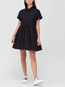 tommy-jeans-short-sleeve-shirt-dress-black