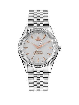 Vivienne Westwood Vivienne Westwood Silver And Rose Gold Detail Stainless Steel Bracelet Ladies Watch