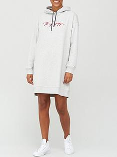 tommy-hilfiger-carmen-regular-long-sleeve-hooded-dress-grey