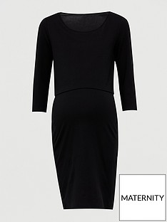 v-by-very-maternity-double-layer-nursing-dress-ndash-blacknbsp