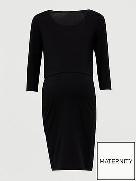 v-by-very-maternity-double-layer-nursing-dress-ndash-blacknbsp