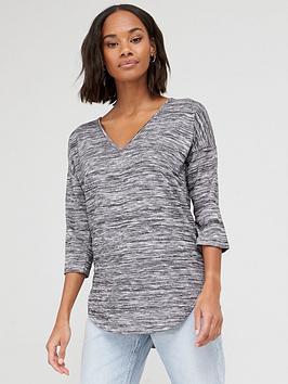 V By Very Snit V-Neck Slouchy Oversized Tunic - Grey
