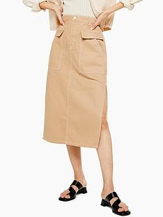 topshop-pocket-midi-skirt-sand