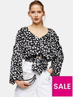 topshop-printed-satin-tie-front-blouse-mono