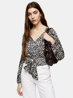 topshop-topshop-animal-shirred-tie-front-blouse-nude