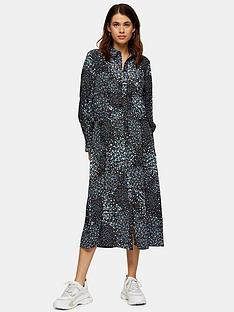 topshop-ruched-waist-midi-shirtdress-black