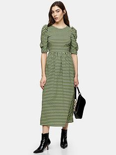 topshop-gingham-puff-sleeve-midi-dress-green