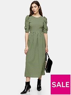 topshop-gingham-puff-sleeve-midi-dress-green