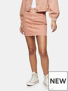 topshop-dart-seam-denim-mini-skirt-apricot