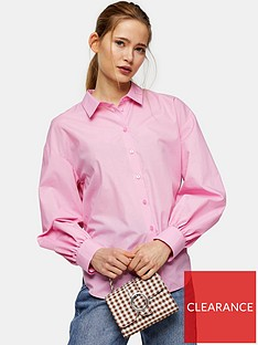 topshop-poplin-ruched-back-blouse-pink
