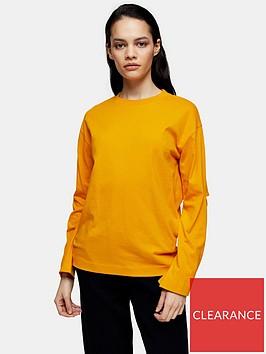 topshop-boutique-elbow-slash-t-shirt-orange