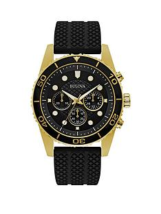bulova-black-and-gold-chronograph-dial-black-silicone-strap-mens-watch