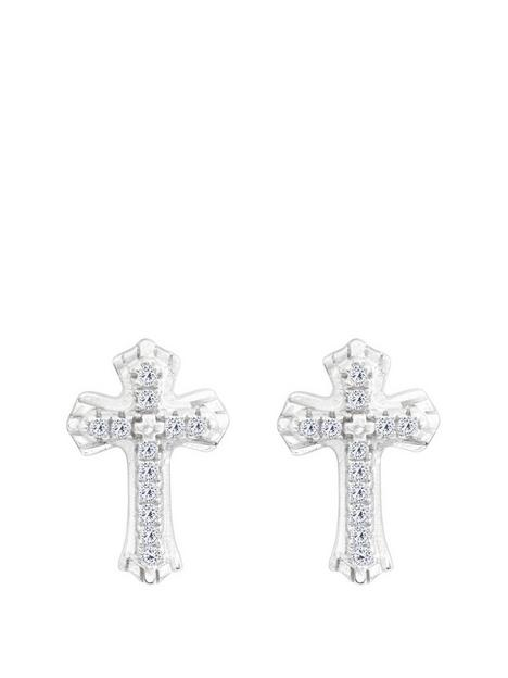 the-love-silver-collection-sterling-silver-pave-cubic-zirconia-club-cross-earrings