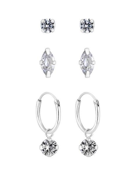 simply-silver-simply-silver-pack-of-three-marquise-stud-and-charmed-hoop-earrings