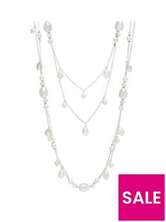 mood-mood-silver-plated-mix-pearl-multirow-necklace