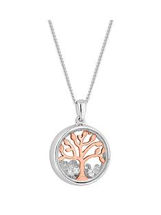 simply-silver-simply-silver-rose-gold-plated-cubic-zirconia-tree-of-life-shaker-necklace