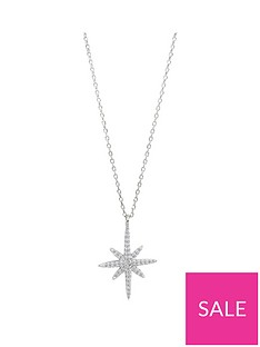the-love-silver-collection-sterling-silver-north-star-cubic-zirconia-pendant-necklace