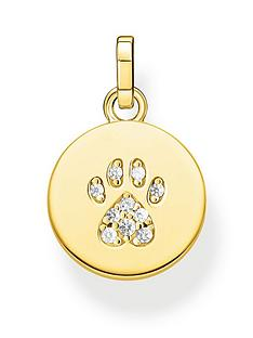 thomas-sabo-gold-plated-sterling-silver-cat-paw-pendant-necklace