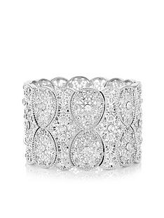 mood-mood-silver-plated-filigree-statement-stretch-bracelet