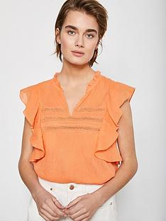 mint-velvet-lace-insert-ruffle-top-orange