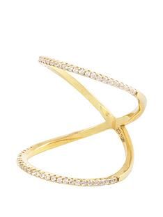 the-love-silver-collection-18ct-gold-plated-silver-micro-cubic-zirconia-curved-double-band-ring