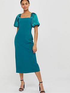 monsoon-eliza-organza-puff-sleeve-column-dress-teal