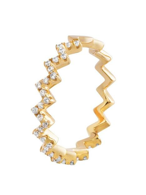 the-love-silver-collection-18ct-gold-plated-silver-cubic-zirconia-zig-zag-ring