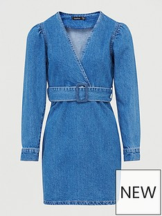 boohoo-boohoonbspbelted-wrap-balloon-sleeve-denim-dress-blue